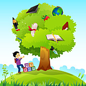 Schoolboy standing near a knowledge tree, illustration