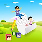 Schoolchildren with their grade card, illustration