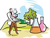 Scientist performing experiments, illustration