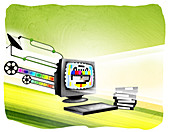 Video being downloaded on a computer, illustration