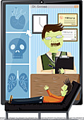Video conference with doctor, illustration