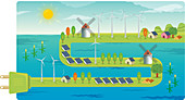 Wind farms on electrical plug, illustration
