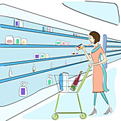 Woman shopping in a supermarket, illustration