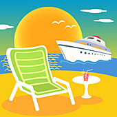 Beach and yacht, illustration