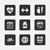 Fitness icons, illustration