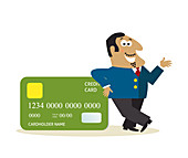 Business man with credit card, illustration