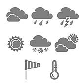 Weather icons, illustration
