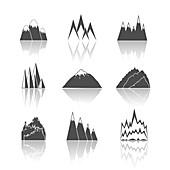 Mountain icons, illustration