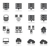 Internet infrastructure icons, illustration