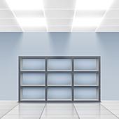Empty store display, illustration