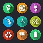 Green energy icons, illustration