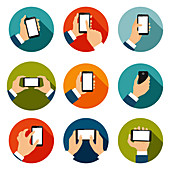 Touch screen hand gestures, illustration