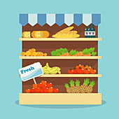 Grocery shelf, illustration