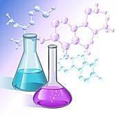Laboratory glassware, illustration