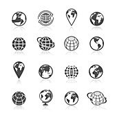 Globe icons, illustration