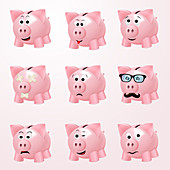 Piggy bank icons, illustration