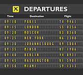 Airport departures board, illustration
