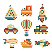 Toy transport icons, illustration