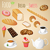Breads and sweets, illustration