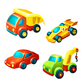 Toy vehicles, illustration