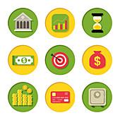 Finance icons, illustration