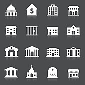 Public building icons, illustration
