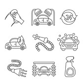 Car wash icons, illustration