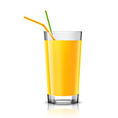 Glass of orange juice, illustration