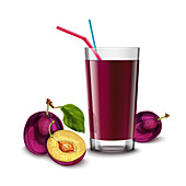 Plum juice, illustration