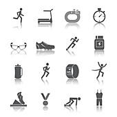 Running icons, illustration