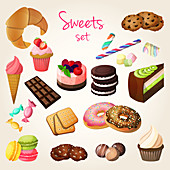 Cakes and sweets, illustration