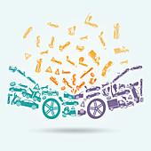 Car crash, illustration
