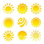 Sun icons, illustration