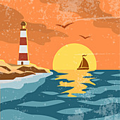 Coastal scene, illustration