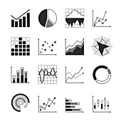 Graph and chart icons, illustration