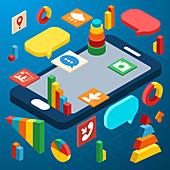 Mobile phone applications, illustration