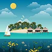 Tropical island, illustration