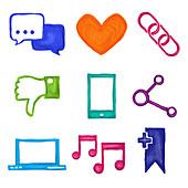 Social media icons, illustration