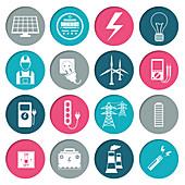 Power distribution icons, illustration