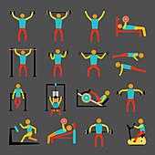 Exercise icons, illustration