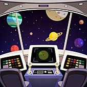 Spaceship bridge, illustration