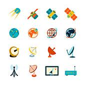 Satellite icons, illustration