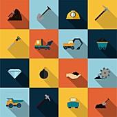 Mining icons, illustration