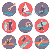 Water sports icons, illustration