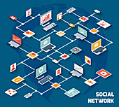 Social network, illustration