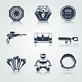 Futuristic icons, illustration