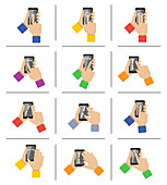 Touchscreen hand gestures, illustration