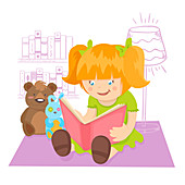 Girl reading book, illustration