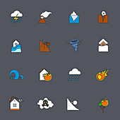 Natural disaster icons, illustration