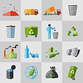 Litter and recycling icons, illustration